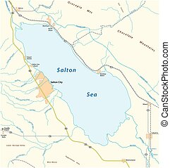 Road map of the californian salton sea