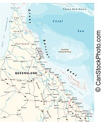 Road map of the cap york peninsula with the great barrier reef, Queensland, Australia