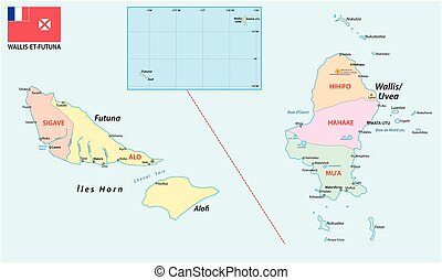 Road map of the French overseas territory of Wallis and Futuna