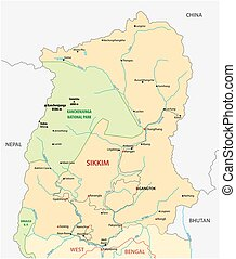 Road map of the Indian state Sikimm