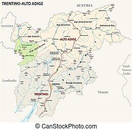 Road map of the italian region Trentino Alto Adige