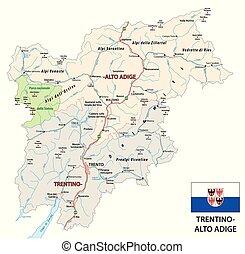 Road map of the italian region Trentino Alto Adige with flag