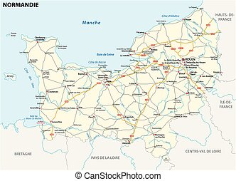 Road map of the new French region of Normandy in French...