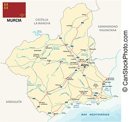 Road map of the Spanish region Murcia with flag