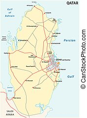 Road Map of the States of Qatar