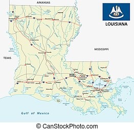 road map of the US American Federal State Louisiana with Flag