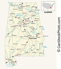 road map of the US American State of Alabama