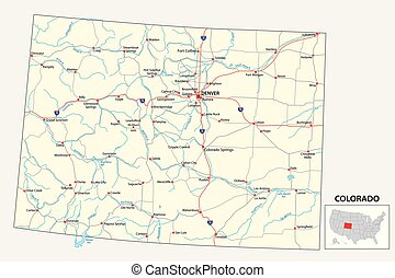 road map of the US American State of Colorado