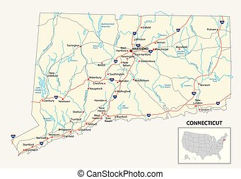 road map of the US American State of Connecticut