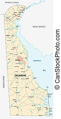 road map of the US American State of Delaware
