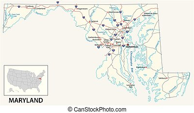 road map of the US American State of Maryland