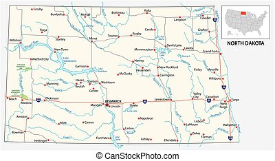 road map of the US American State of north dakota
