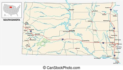 road map of the US American State of South Dakota