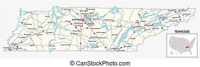 road map of the US American State of Tennessee