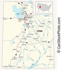 road map of the US American State of Utah