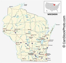 road map of the US American State of Wisconsin