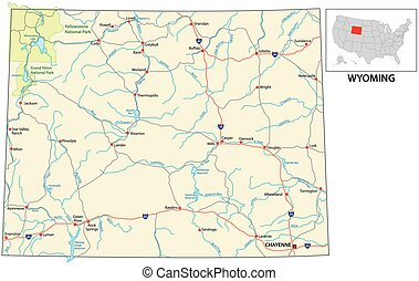 road map of the US American State of Wyoming