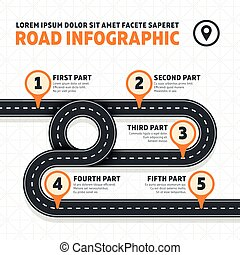 Road map, street, highway modern vector business infographics