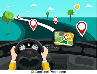 Road Map with Hands on Steering Wheel and Pins on the Road....