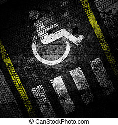 road marking grunge background textured on concrete wall