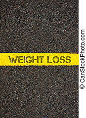 Road marking yellow line with words WEIGHT LOSS