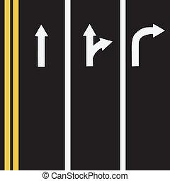 Road markings in three lines