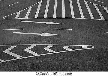 Road markings - road markings and arrow signs on asphalt