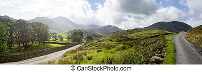 Road meet near Wrynose Pass in English Lake District near Langdale valley