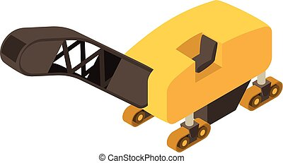 Road milling machine icon, isometric 3d style