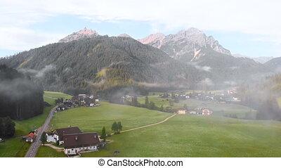 Road mountain fog rain mountain drone - Aerial view of sky...