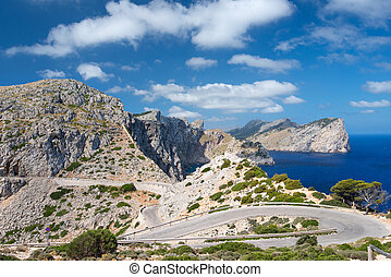 Road near cape Formentor - Formentor headland from the cape...