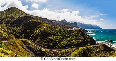 Road near coast of ocean panorama