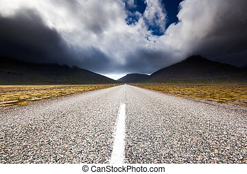 Road near Eystrahorn hill, East Iceland