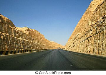 Road near Riyadh - Road through clay rocks near Riyadh...
