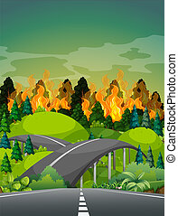Road near wildfire forest illustration