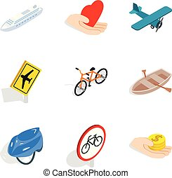 Road network icons set, isometric style - Road network icons...