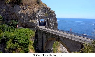 road of Amalfi coast, Italy - famous picturesque road...