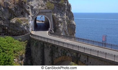 road of Amalfi coast, Italy - picturesque road viaduct over...