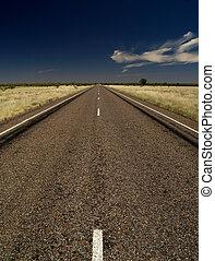 Road of Australia, dark asphalt, blue sky