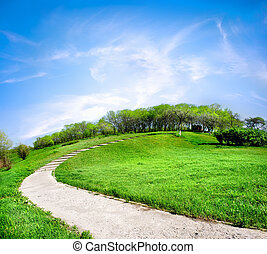 Road on a green hill