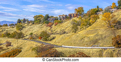 Road on a hill with homes in Salt Lake City Utah