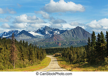Road on Alaska - highway on Alaska