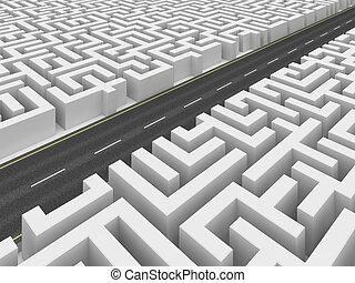Road on labyrinth