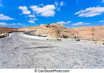 Road on mountain pass in Jordan