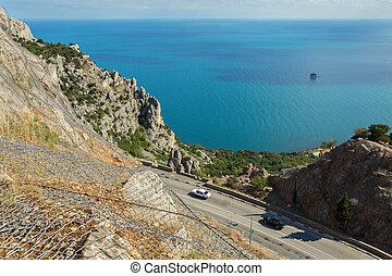 Road on the coast of the Black Sea of Crimean peninsula