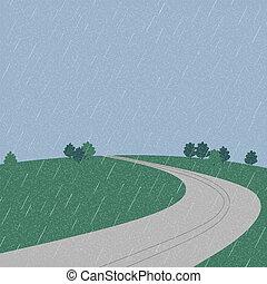 Road on the mountain during rainy season