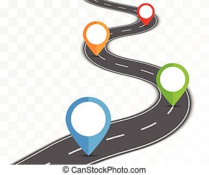 Road path on transparent background with pin pointer vector illustration