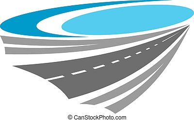 Road or highway color icon