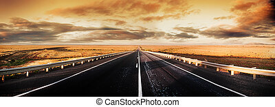 Road Panorama - Road through the desert