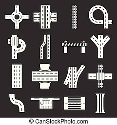Road parts constructor icons set grey vector